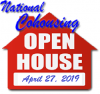 A red image of a house with the words National Cohousing Open House April 27, 2019 superimposed